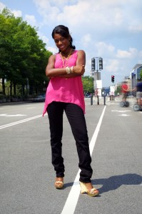 Markette Standing in middle of Penn. Ave.