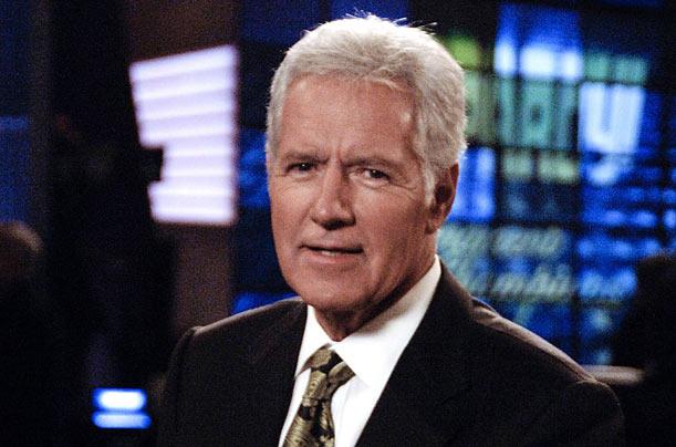 Host Alex Trebek on the set of Jeopardy.