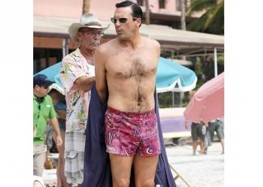 Jon Hamm preparing to film a scene for the upcoming season of AMC's Mad Men.