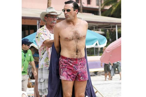 Jon Hamm preparing to film a scene for the upcoming season of AMC's Mad Men.