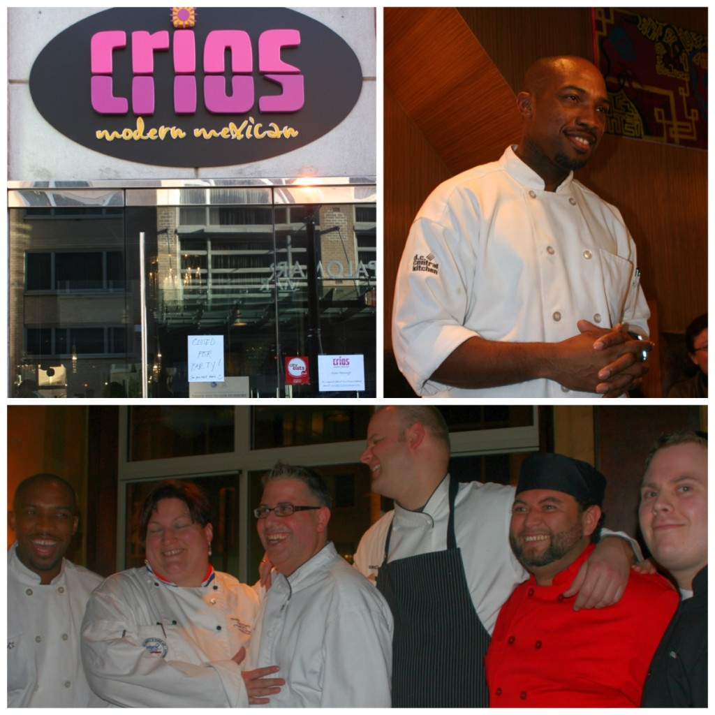 Clockwise from top left: Crios storefront, Chef Rock Harper, chefs of the evening