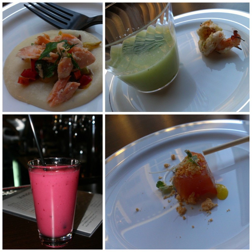 Clockwise from upper left: Poached salmon, honeydew gazpacho, blueberry margarita, Cured salmon