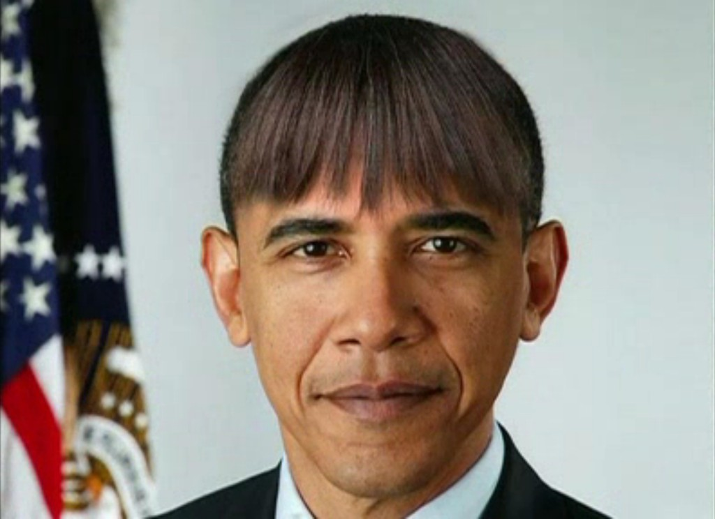 President Obama with the First Lady's bangs. (CSPAN)