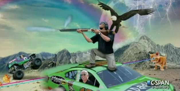 """The """"real"""" Camp David skeetshooting photo. (CSPAN)"""
