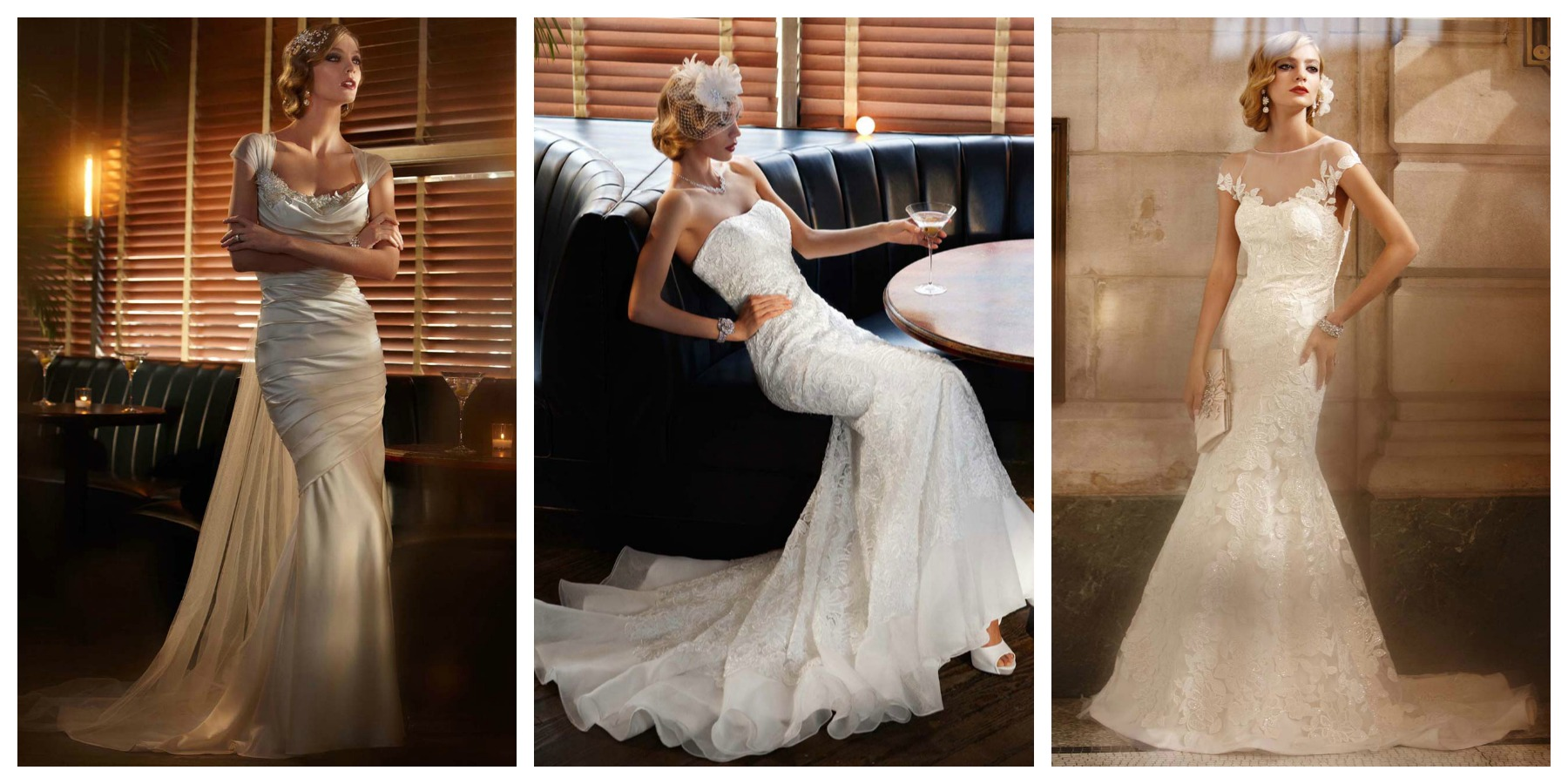 Jazz Age style wedding gowns from David's Bridal.