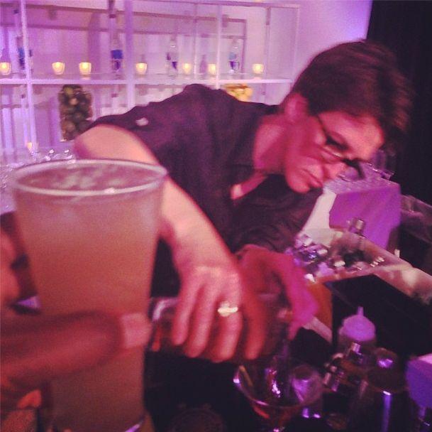Questlove's photo of Rachel Maddow tending bar. (Instagram)