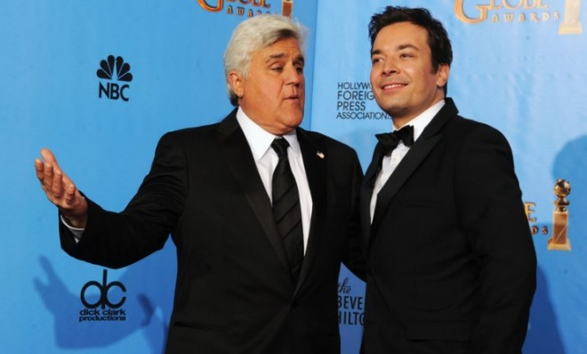 Presenters Jay Leno, left, and Jimmy Fallon pose backstage at the 70th Annual Golden Globe Awards on January 13, 2013, in Beverly Hills, California.