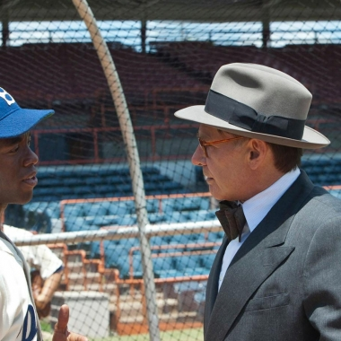 Chadwick Boseman (left) as the legendary Brooklyn Dodger Jackie Robinson and Harrison Ford (right) as General Manager Branch Rickey.