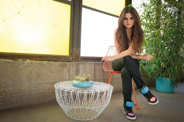 Selena Gomez in a multi-colored pair of Adidas NEOs.