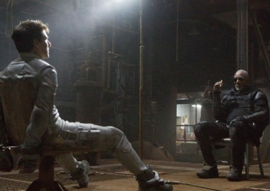 Tom Cruise (left) and Morgan Freeman (right) star in Oblivion.