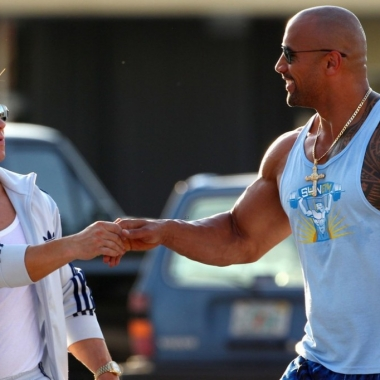 Mark Wahlberg and Dwayne Johnson in Pain & Gain