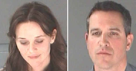 Mug shots pf Reese Witherspoon and her husband, Jim Toth.