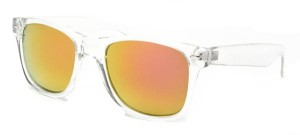 SW Mirrored Retro Style #1672 from Sunglass Warehous has a clear frame with groovy, colored mirrored lenses!