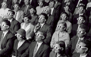 An old-time audience watching one of the first 3D movies.An old-time audience watching one of the first 3D movies.