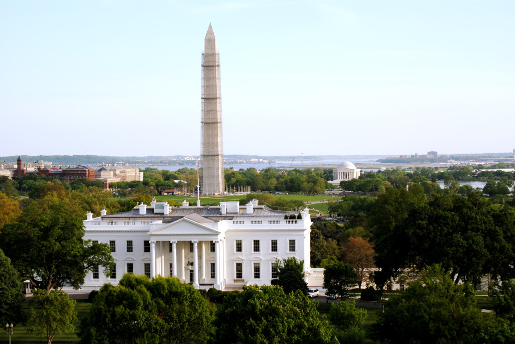 Rooftop views of the White House and a scaffold-ed Washington Monument (Ko Im/ DC on Heels)