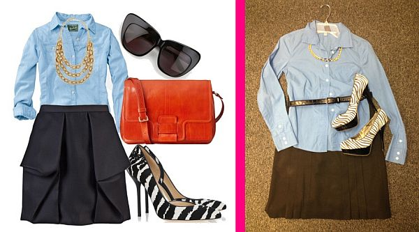Outfit from Pinterest, left, and a Goodwill-inspired look, right, for only $25.94, plus tax. (Pinterest/Abbie Elliott)