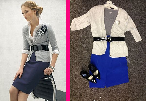 Outfit from Pinterest, left, and a Goodwill-inspired look, right, for only $25.92, plus tax. (Pinterest/Abbie Elliott)