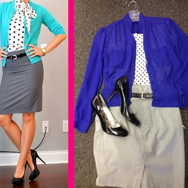 Outfit from Pinterest, left, and a Goodwill-inspired look, right, for only: $19.94, plus tax. (Pinterest/Abbie Elliott)