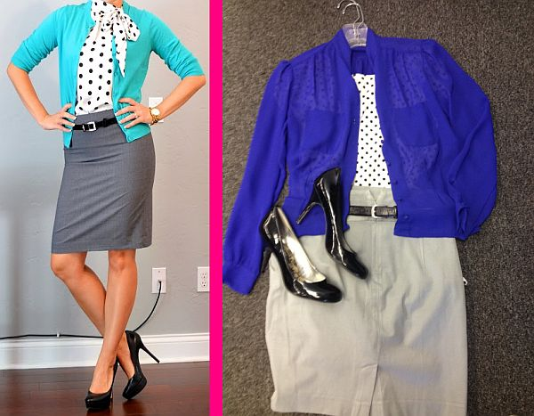 Outfit from Pinterest, left, and a Goodwill-inspired look, right, for only $19.94, plus tax. (Pinterest/Abbie Elliott)