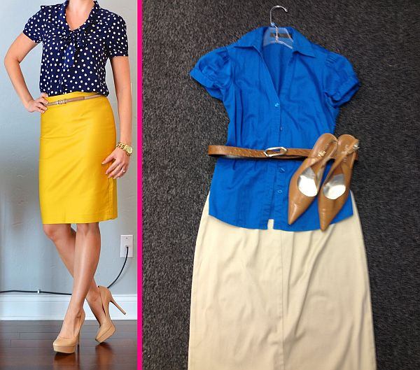 Outfit from Pinterest, left, and a Goodwill-inspired look, right, for only $20.94, plus tax. (Pinterest/Abbie Elliott)