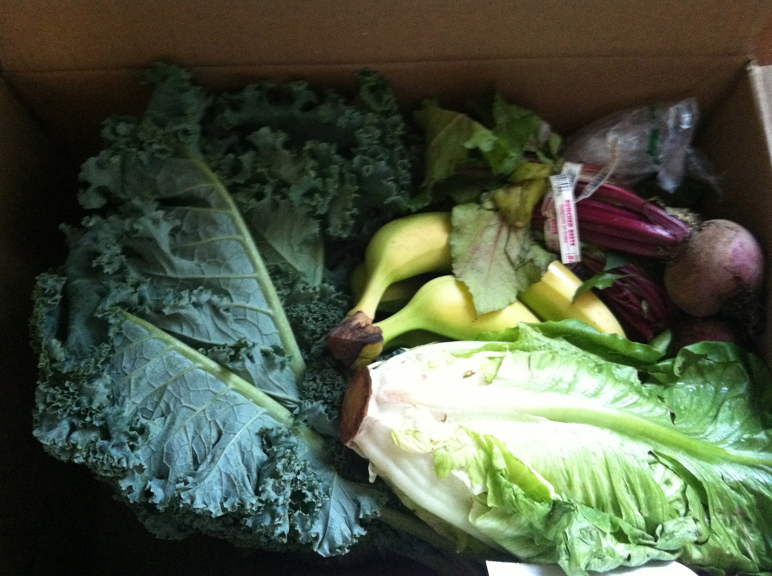 The contents included kale, bananas, beets and romaine lettuce (Kristy McCarron/DC on Heels)
