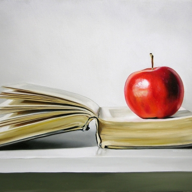 Teacher's apple on a book (www.chrissstott.com)