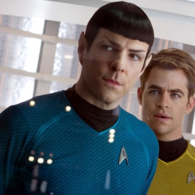 Zachary Quinto plays Commander Spock and Chris Pine is Captain Kirk in Star Trek Into Darkness (Paramount)