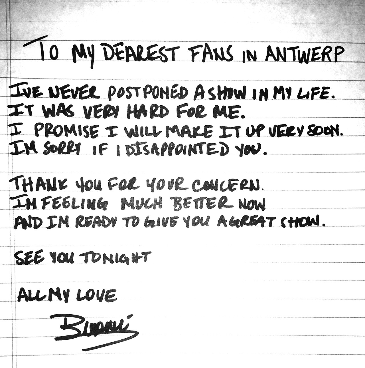 Beyonce's handwritten Tumblr note to her Antwerp fans. (Beyonce/Tumblr)