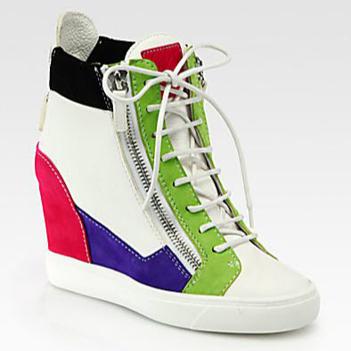 Giuseppe Zanotti's  colorblock leather and suede wedge sneakers (saksfifthavenue.com)