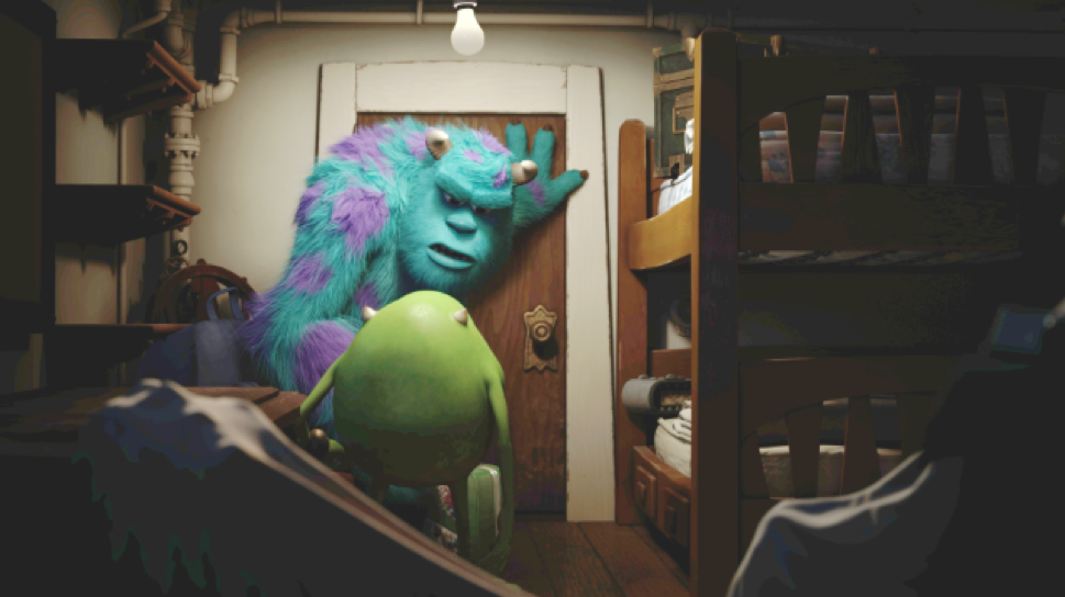 Sulley and Mike team up to leave a team of cuddly monsters in the Scare Games. (Photo courtesy Disney/Pixar)