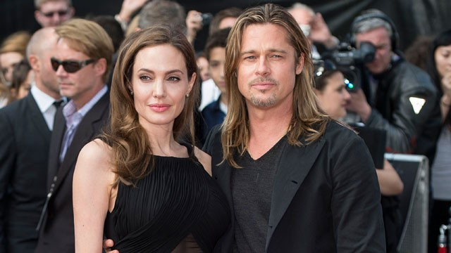 Angelina Jolie and Brad Pitt attend the World Premiere of 'World War Z' at The Empire Cinema, June 2, 2013 in London. It was Jolie's first appearance since having a double mastectomy in May. (Mark Cuthbert/Getty Images)