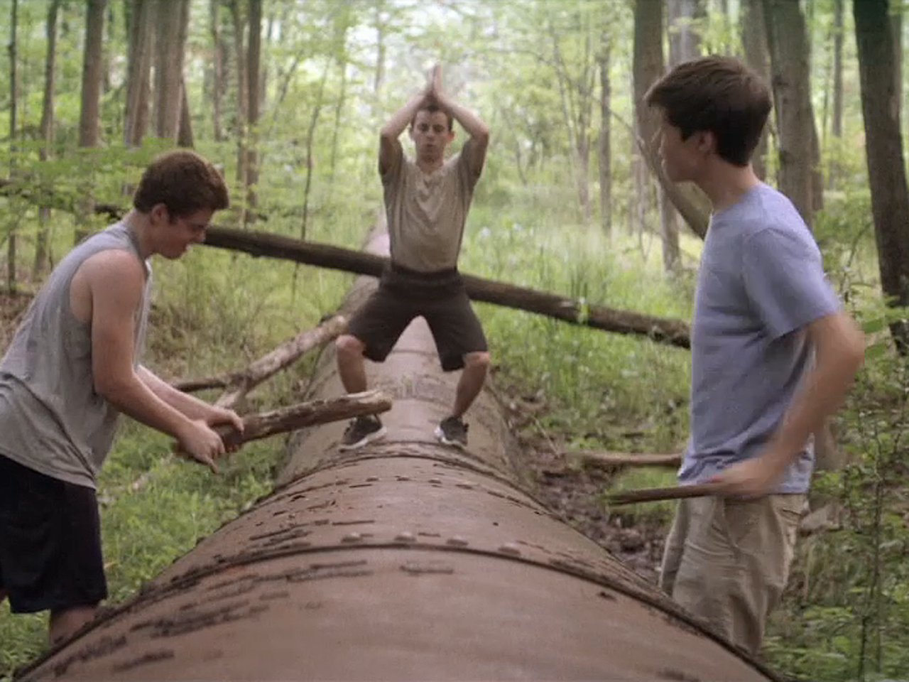Gabriel Basso, Moises Arias and Nick Robinson star as three teens who spend their summer building a house in the woods and living off the land in The Kings of Summer. (Photo courtesy of CB Films)