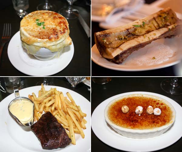 Bearnaise's menu includes (clockwise) French onion soup, bone marrow, praline crème brulee and a flat iron steak with unlimited fries. (Mark Heckathorn/DC on Heels)