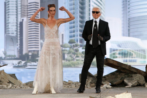 Karl Lagerfeld and a look from Paris Couture Week Chanel Collection ( Francois Mori/AP)