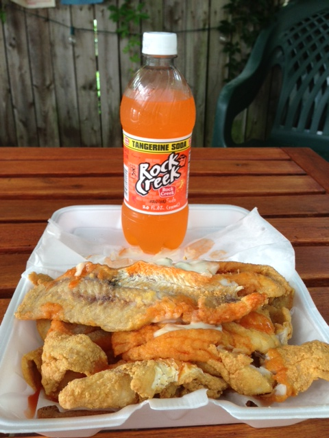 A fish sandwich with locally bottled orange Rock Creek soda. (Richard Barry/DC on Heels)