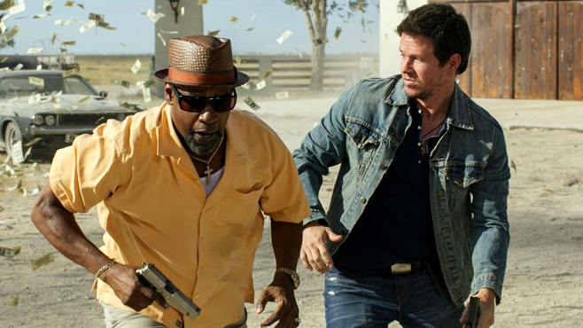Denzel Washington and Mark Wahlberg star in 2 Guns, which opened at number one. (Photo courtesy Universal Pictures)