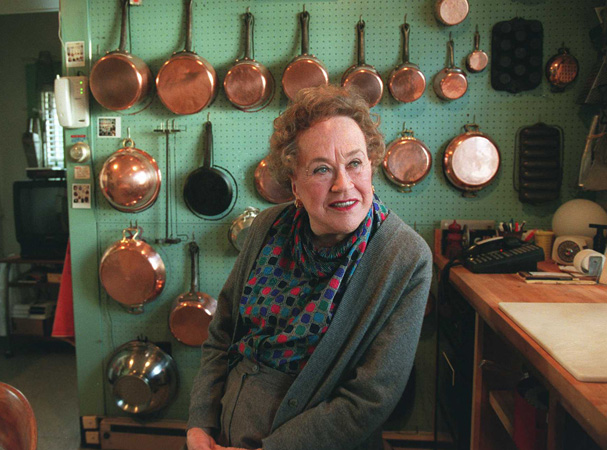 Julia Child at her home in Cambridge, Mass. The kitchen is now on display at the Smithsonian Institution's Museum of American History. (Photo by Pat Greenhouse/The Boston Globe)