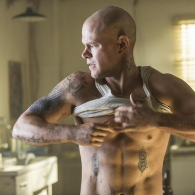 Matt Damon bald and tatted in Elysium. (Photo courtesy Sony Pictures)