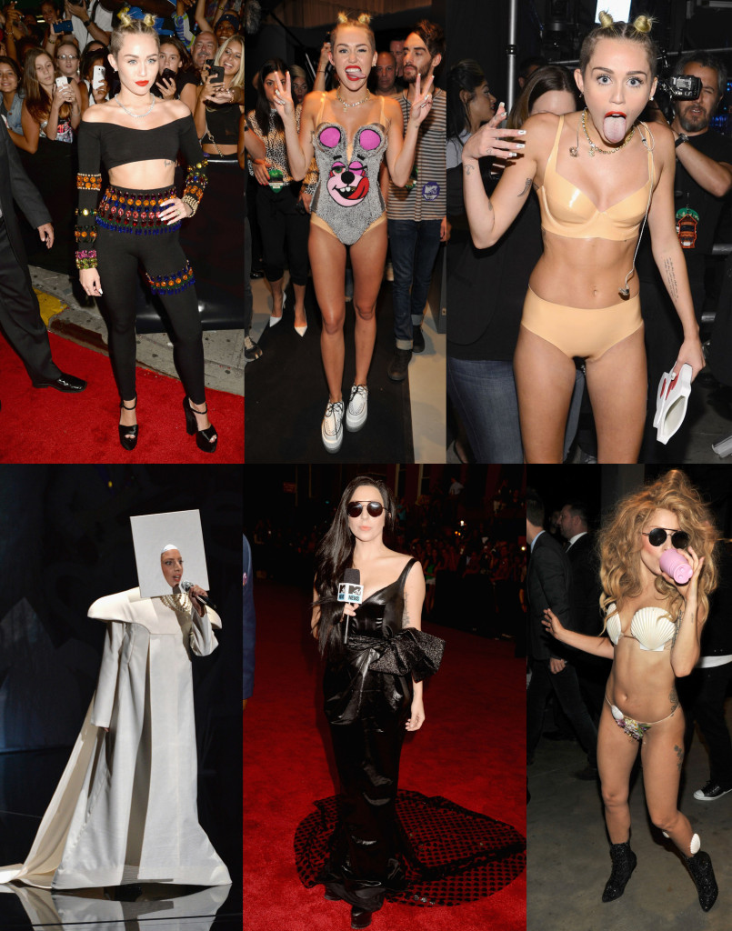 The various jaw-dropping looks Miley Cyrus and Lady Gaga pulled out during this year's VMAs. (Photos via The Huffington Post)