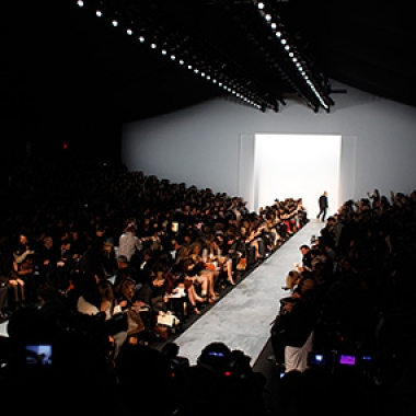Models walk the runway at the Mercedes Benz Fashion Week.