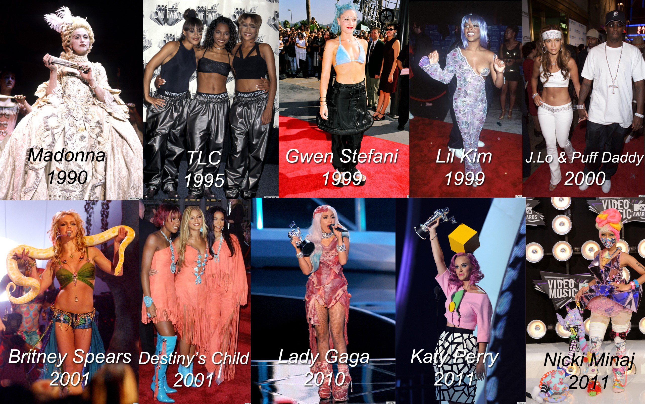 Here are some of the bold, outrageous looks that have graced the VMA red carpets from the '90s to today. (Photos: The Huffintgon Post)