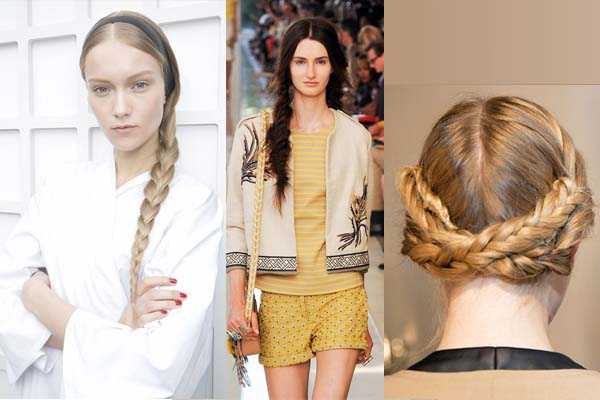 Chic side braid, fishtail side braid and crown braids - elegant and regal (l to r) (Photos: Imaxtree)