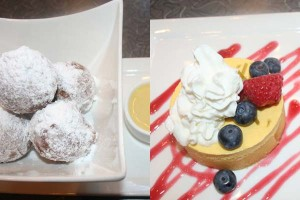 Tasty desserts include the zeppoli and the mango lime almond cake. (Mark Heckathorn/DC on Heels)