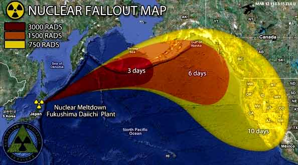 A maAp showing nuclear fallout following the Fukushima Nuclear Plant meltdown. (Map: Centre for Research on Globalization)