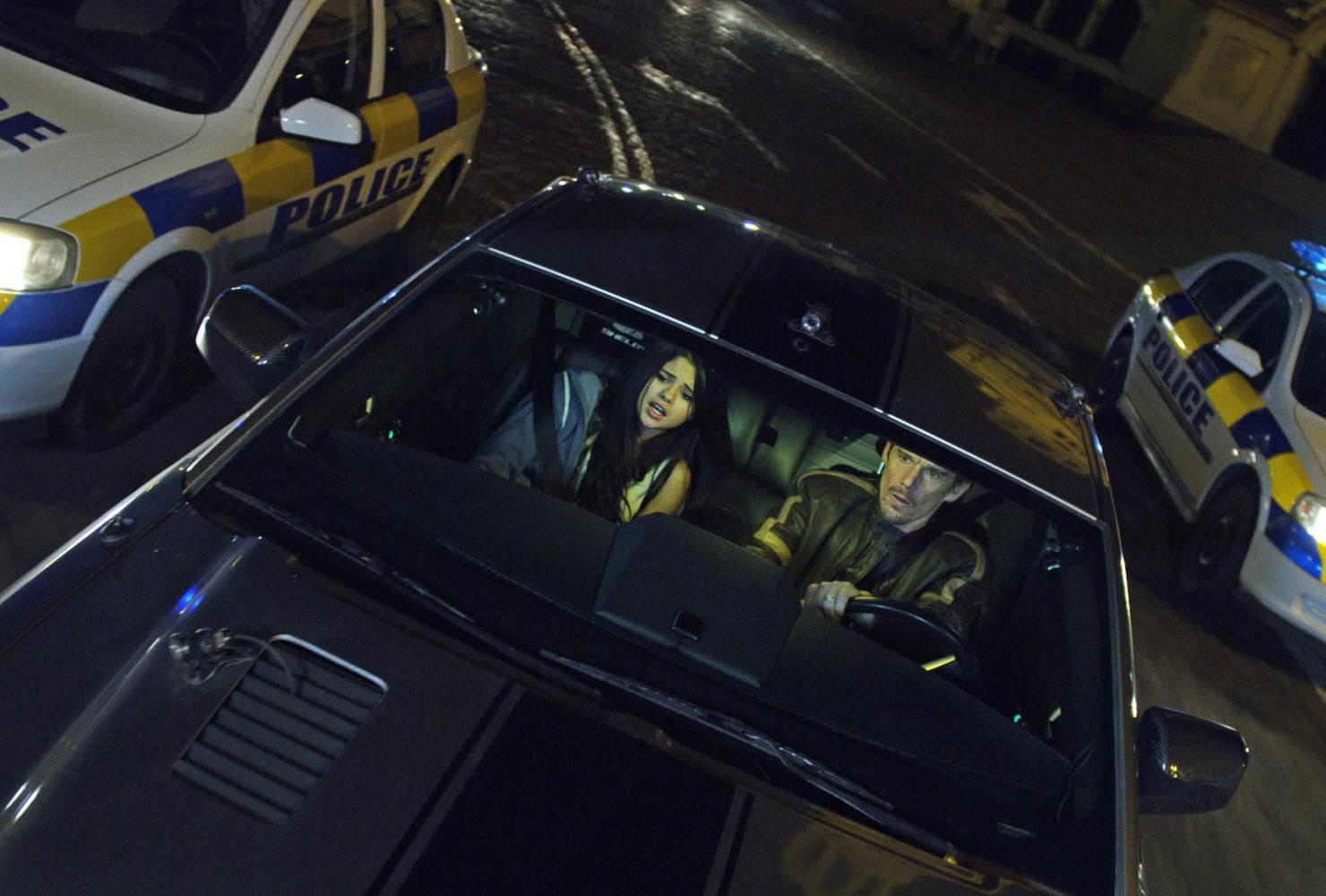 Selena Gomez and Ethan Hawke star in Getaway. (Photo: Warner Bros.)