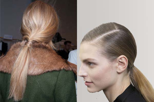 A messy ponytail (left) and a sleek ponytail. (Photos: Imaxtree)