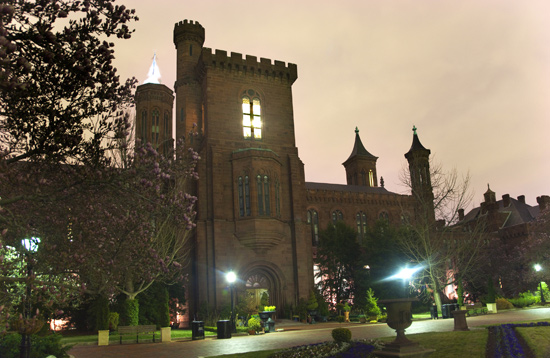 The Smithsonian Castle and gardens at night. (Photo: Smithsonian Institution)