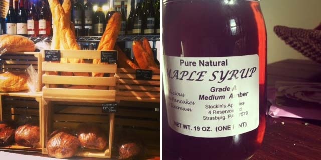 Beautiful, delicious, chewy breads (left) and maple syrup from Stockin's Apiary (Kristy McCarron/DC on Heels)