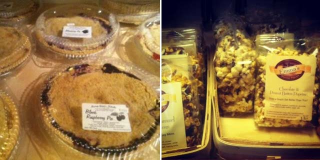 Mary Anna's Kitchen's delicious homemade pies (left) and must-have chocolate-peanut butter popcorn, (Kristy McCarron/DC on Heels)