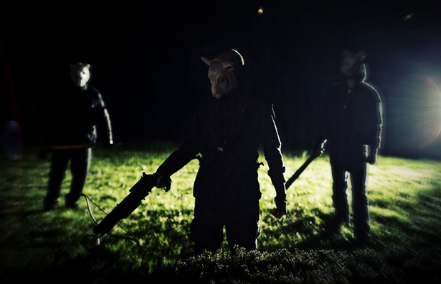 Three killers wearing white animal masks hunt the Davidsons in You're Next. (Photo courtesy Lionsgate)